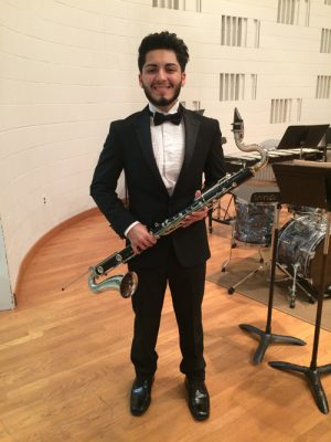 Chris Salas plays bass clarinet in the Wind Ensemble marking his third appearance with the group at the Oct. 20 performance. The ensemble's next concert takes place Nov. 30.