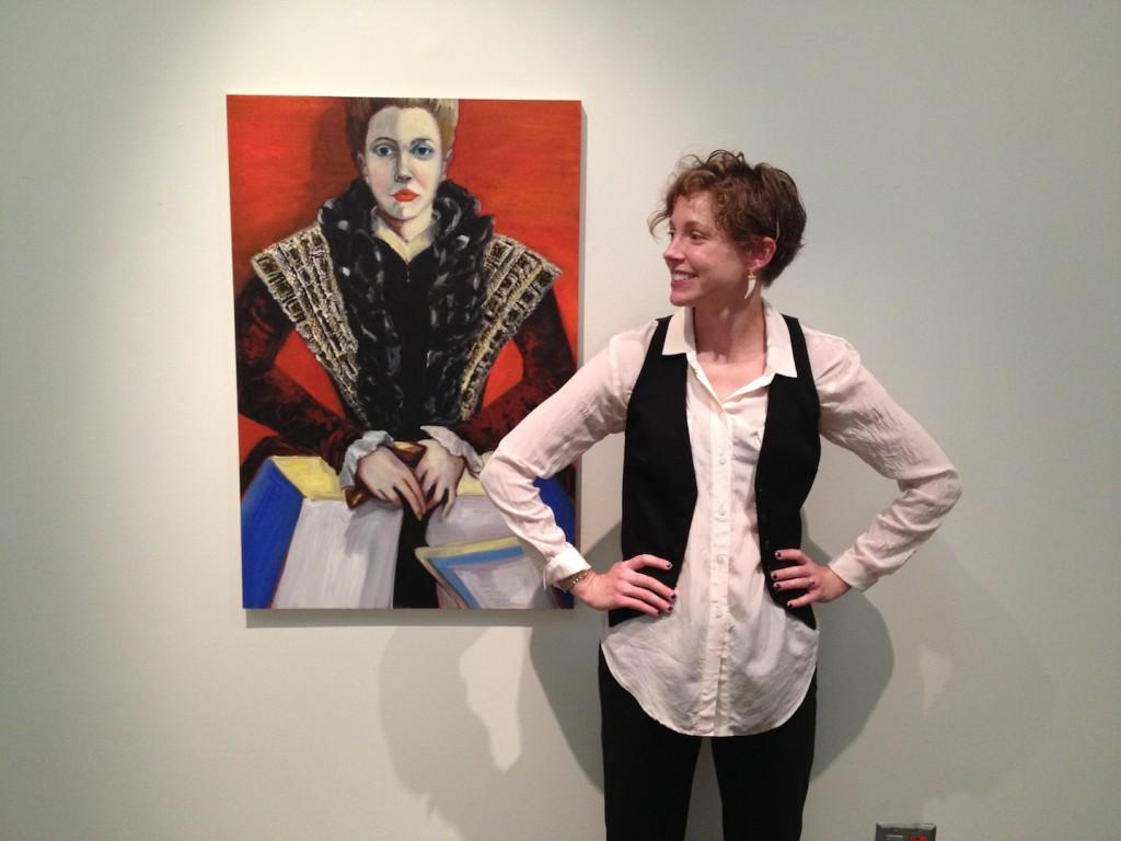 Artist Hana Shoup poses with her painting The Breadwinner.