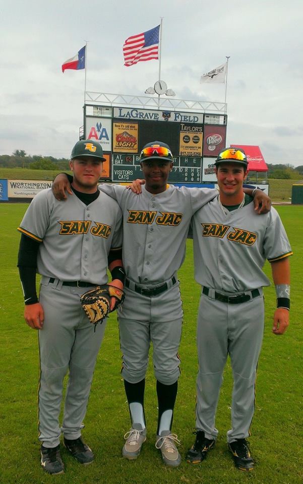 Konner Frazier (L to R), Geonte Jackson and Brandon Sonnenberg pose together after their win against Region 5 West.