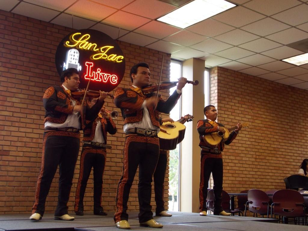 Mariachi band Calmecal plays traditional mariachi music in the student center to kick off Hispanic Heritage Month (HHM).