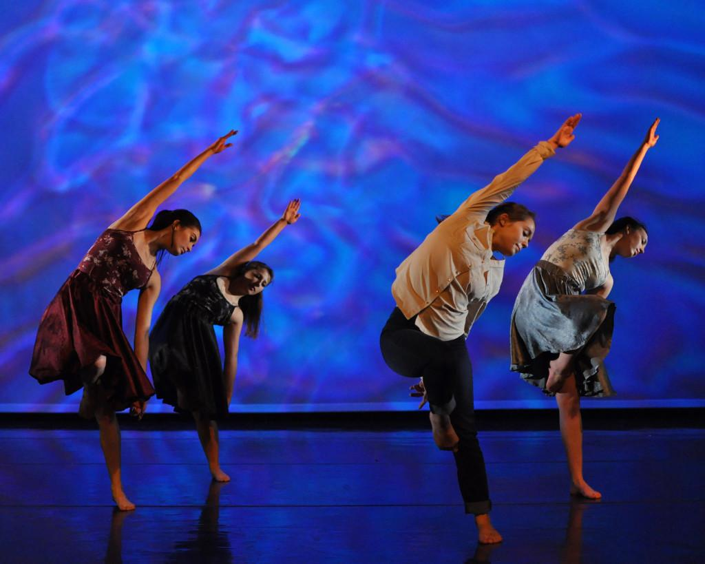 Dancers (Left to right: Anissa Trevino, Rochelle Williams-Earle, Tuesday Boswell, and Nicole Ybarra) perform the piece 'Within Living Memories.'