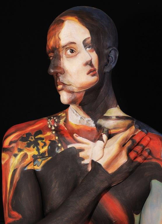 Works of art from around the world are recreated on the body of Chadwick Gray as part of the Museum Anatomy exhibition.