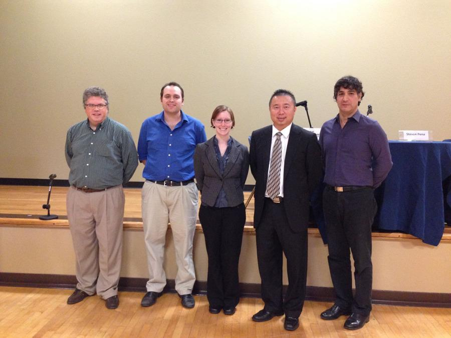 From left: David LeMaster, Will Parent, Nikki Vogel, Thi Lam and Steven Pena pose for a picture at last year's debate.