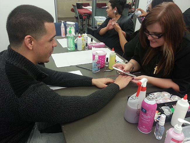 Complimentary manicures were one of the many featured offerings during Central campus's tribute to military heroes.
