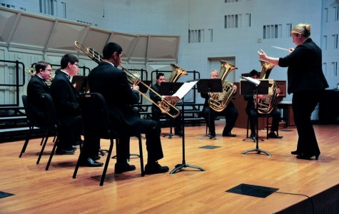 Dr. Karen Marston conducts members of the San Jacinto College Central Campus Brass Choir during a rehearsal for a prior concert.
