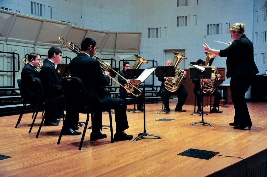 Dr.+Karen+Marston+conducts+members+of+the+San+Jacinto+College+Central+Campus+Brass+Choir+during+a+rehearsal+for+a+prior+concert.+