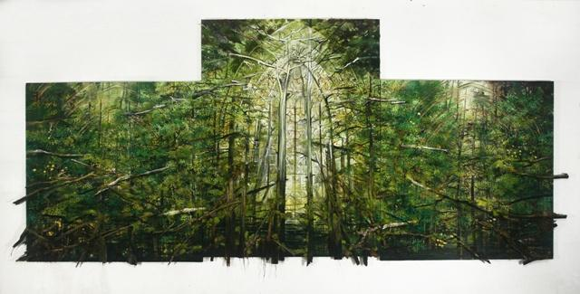'Cathedral Green' reflects a personal spiritual experience for featured artist Sharon Kopriva (2012, Oil and mixed media on photo canvas, 81