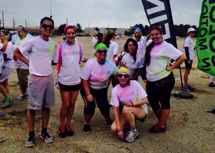 Rec Sports students attend Color in Motion 5K in Houston last spring. The run served as the inspiration behind Color Dodgeball.