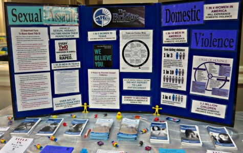 Local advocacy group, The Bridge Over Troubled Waters, provides a board full of information to educate victims at their crisis center.
