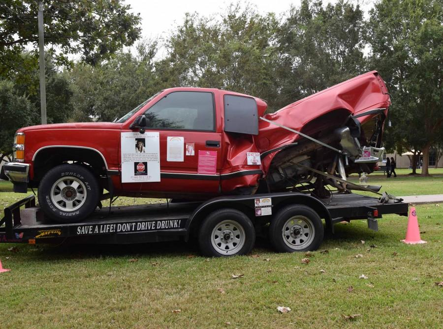 Emily Jones lost her life when an impaired driver hit her truck (pictured). Her totaled vehicle sits on display on the South campus as part of Horrors of the Crash.