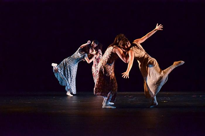 Hold on, Weight for Me; choreographed by Laura Harrell. Performers pictured are Bethany Garcia, Cindy Gil, Kelsey McLarty, and Gabriela Rosales.