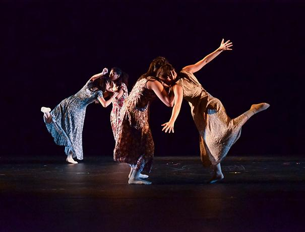 (From left) PAC dancers Bethany Garcia, Cindy Gil, Kelsey McLarty, and Gabriela Rosales perform 'Hold On, Weight for Me' choreographed by Laura Harrell in this November 2014 photo. The troupe will host Artists for Hope Oct. 17.