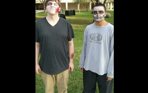 William McAllister (left) and Oscar Puente pose for a photo before participating  in the zombie-inspired competition. The activity aims to help students relieve the stress of rigorous study schedules.