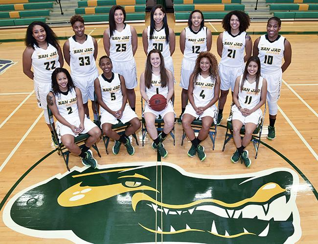The 2015-2016 San Jacinto College Women's Basketball team includes (back row from left): Vanessa Jones, Kaelynn Wilson, Jasmine James, Ahizala Wright, Ariona Gill, Jazsmin Nelson, Kristel Reid; (Front row from left): Desi Debase, Zauria Kilgo, Sarolta Udvardi, Laneisha Jeans, and Gabby Alvarez.