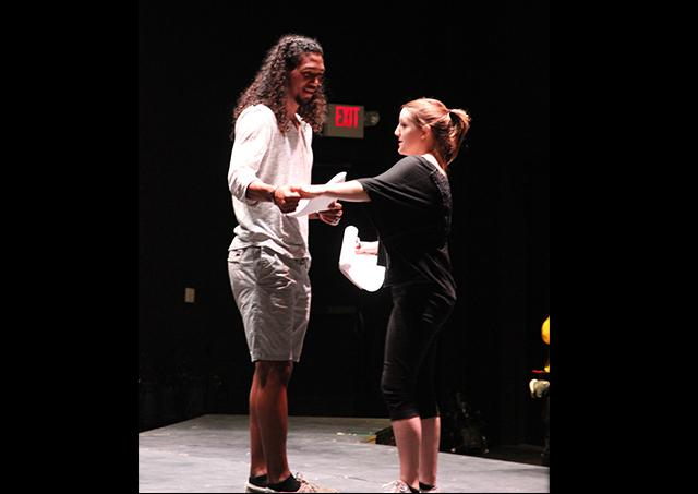 Brandon Barber (left) and Chelse Tillman rehearse a scene for the upcoming original production 'Stories.'