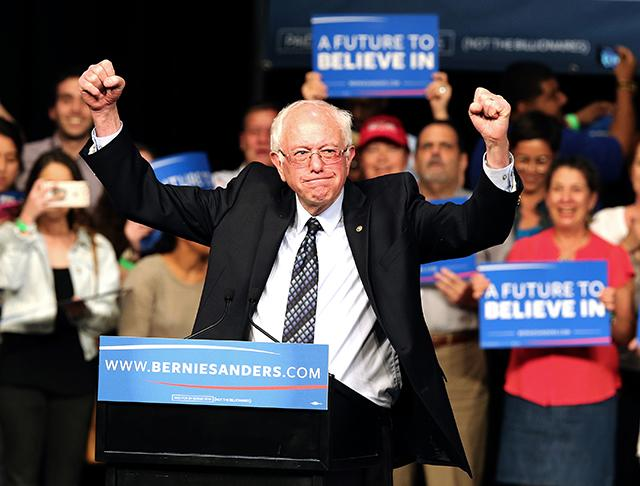 Democratic presidential candidate Sen. Bernie Sanders acknowledges his supporters during a campaign event in Miami at the James L. Knight Center on Tuesday, March 8, 2016.