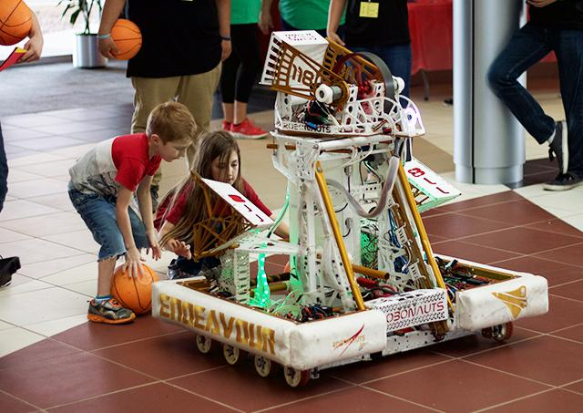 The 'basketball robot' designed by the Clear Creek Independent School District Robotics Club was a slam dunk with children attending NASA Space Science Day on the South campus April 14.