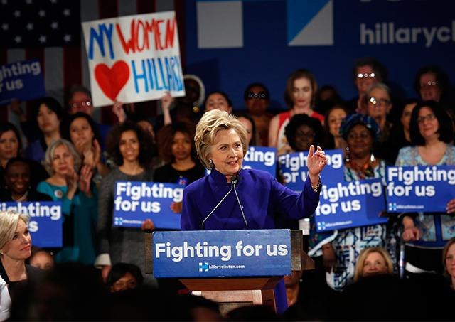Democratic presidential candidate Hillary Clinton speaks at a rally for women at the Hilton Hotel in Manhattan on April 18. Although leading in votes and delegates, she trails behind rival Bernie Sanders when it comes to support from millennial women.