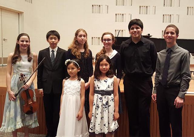 The winners of the first Young Artists Competition include: (Back row, from left) first-place winners Susanna Bobbs, Daniel Chang, Stephanie Pickrell, Emma Bolton, and second-place winners Giacomo Tiznado and Zach Williams; (Bottom row, from left) first-place winners Chloe Luo and Leia Walker.