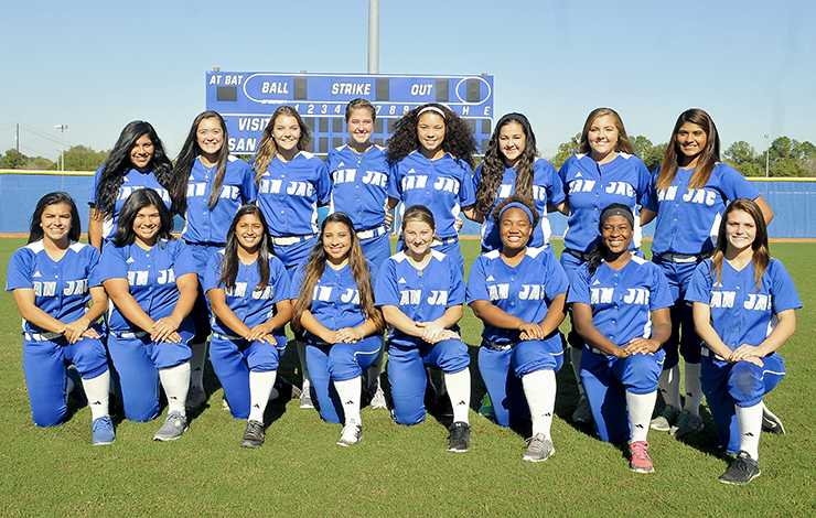 The 2015-2016 San Jacinto College Coyotes softball team includes (front row from left): JJ Cerda, Gabby Gonzalez, Alexis Deleon, Missy Hernandez, Katlin Kerl, Taylor Office, Nabila Robinson, Shelbi Doherty. (Back row from left): Ashley Zapata, Jamie Henk, Carol Raba, Kaylee Ousman, Jaime Kelly, Danni Damian, Sarah Holden, Nike Gonzalez.