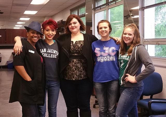 (From left): Student instructor Genell Johnson and students Francesca D'Agostaro, Sarah Dunn, Jordan Kendall, and Shay Yeager will cut hair April 18-20 as part of an event benefitting the Wigs for Kids Foundation.