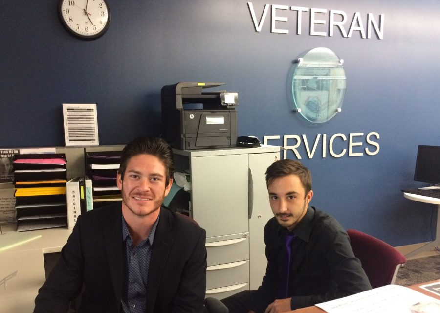 Central Campus veteran's center work study students, Jacob Eldridge (left) and Trey Seymour, know firsthand the many challenges of post-military service employment.