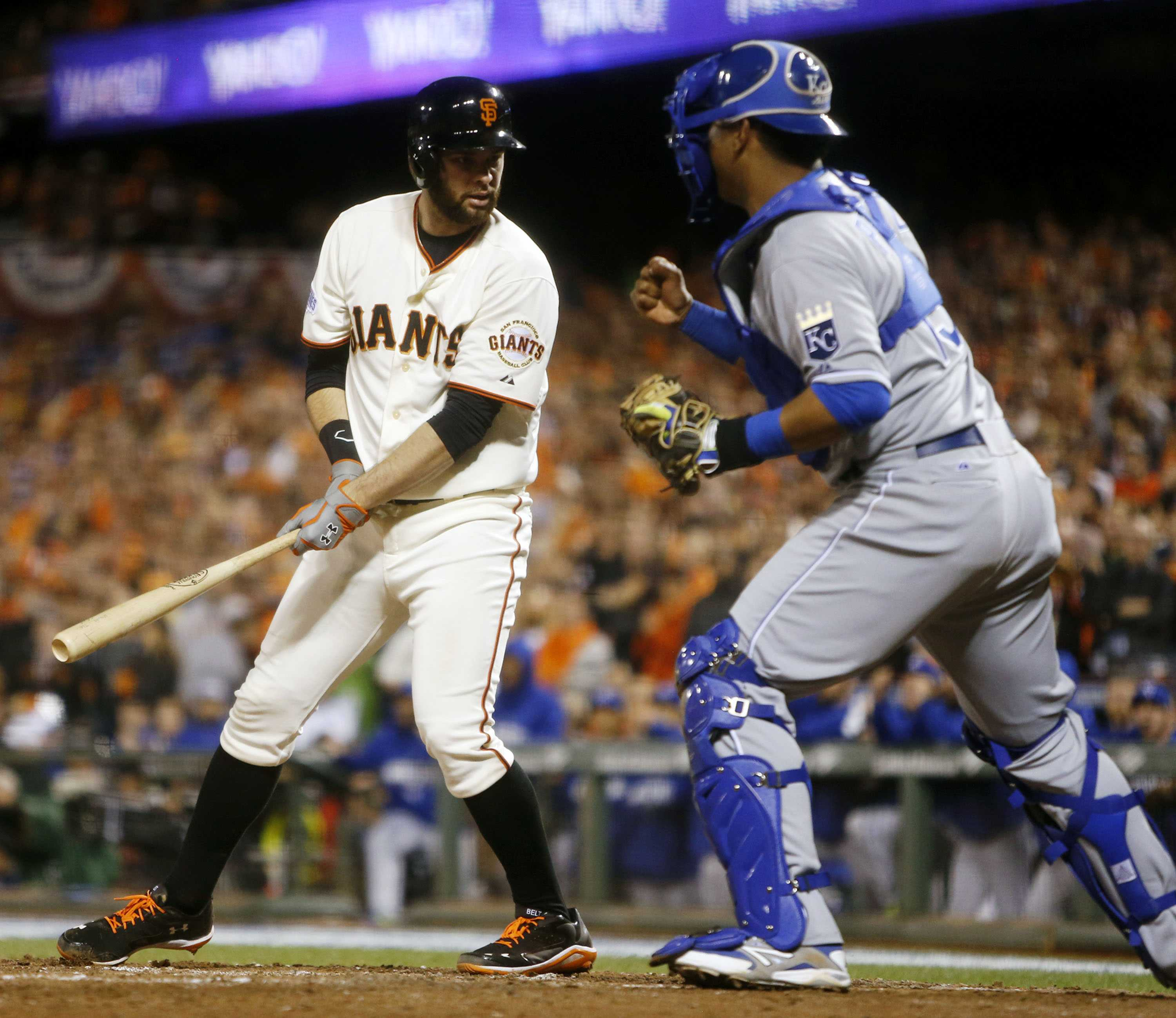 Brandon Belt (left) strikes out in the seventh inning against the Kansas City Royals in Game 3 of the 2014 World Series. The Giants shut out the Mets 3-0 Oct. 5 to win the National League Wild Card game and make another run toward the World Series.