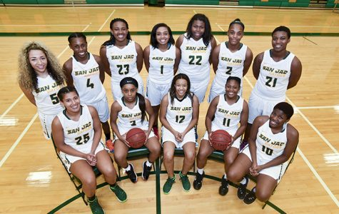 The 2016-2017 San Jacinto College Women's Basketball team includes (front row from left) Jasmine James, Eryka Sidney, Ariona Gill, Chatara Williams, Tacera Kelley; (back row from left) Amieya Jackson, Monique Calliste, Eriel Jordan, Alexus Jones, Alexis Bryant, Princess Clemons, SiYana Allen.