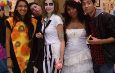 (From left) Gladys Cendejas, Rodrigo Vargas, Koti Norris, Jamazeya Taylor, and William Lozano are shown at last year's Halloween festivities on the North Campus.