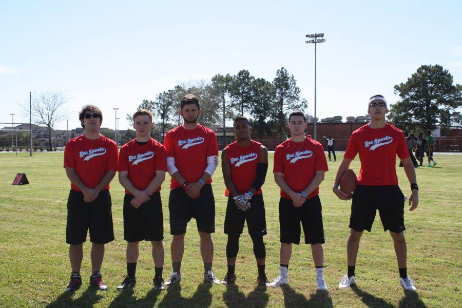 Flag football participants (from left) Travis Hinkel, Ean Christopherson, Chris Story, Diontre Clark, Alec Williams, and Julio Garcia pose for a picture during Sports Day on Oct. 28, 2015. This year's events include bubble soccer and adaptive basketball.