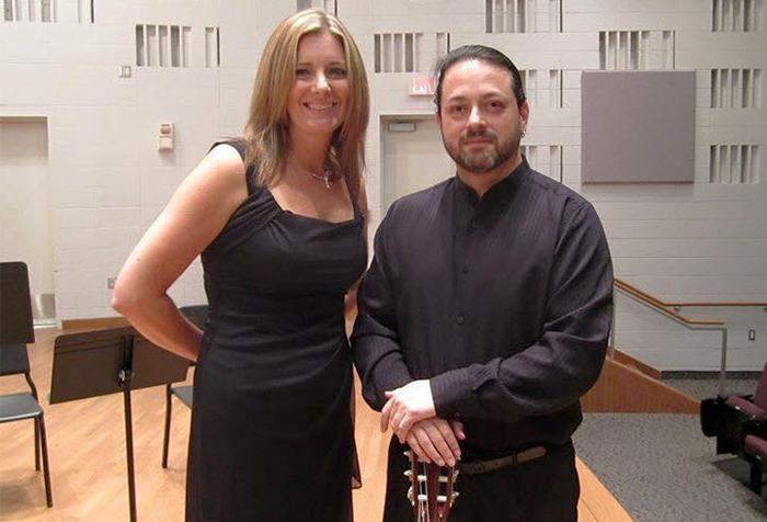 Professors Jeremy Garcia (left) and Lynne Brandt, pictured here following a 2015 performance, will join colleagues Eric Late, Sarah Spencer, and Michael Mizma (not shown) for a concert on Nov. 7.