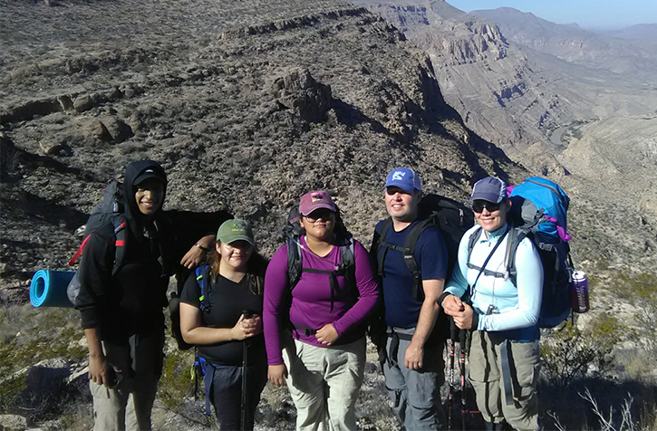 Members+of+the+new+North+Campus+club+hike+unfamiliar+terrain+in+Big+Bend+National+Park+during+the+group%E2%80%99s+weeklong+trip+in+March.