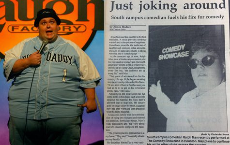 May performs at the Laugh Factory (left) in July 2003 after moving to Los Angeles to pursue his standup career. The San Jacinto Times interviewed the then-unknown comedian for an article appearing in the Times' Oct. 8, 1990 issue.