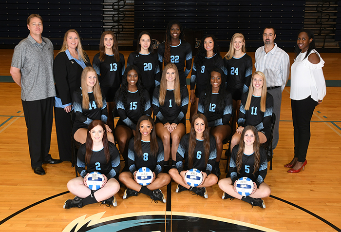 The+San+Jacinto+College+Volleyball+team+is%3A+%28Front+row%2C+from+left%29+Caitlin+Pray%2C+Mir+Tillman%2C+Addie+Bryant%2C+Bradyn+Rice.+%28Second+row%2C+from+left%29+Radka+Brichackova%2C+Madison+Rhoder%2C+Raven+Oates%2C+MarKayla+Dickie%2C+Brenna+Munsch.+%28Back+row%2C+from+left%29+Athletic+Trainer+Troy+Rabon%2C+Head+Coach+Sharon+Nelson%2C+Margarita+Buvinic%2C+Elena+Hadzhieva%2C+Savannah+Sheridan%2C+Moerani+Marie%2C+Haley+Nelson%2C+Assistant+Coach+Jeff+Pearce%2C+Student+Assistant+Jyoti+Ruffin.%0A