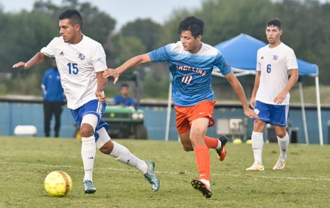 Ivan Cruz (left) and Carlos Blasco (right) beat conference rival Angelina College on Oct. 20 to advance to the semi-finals. The Coyotes and the Lady Ravens lost their final bids to bring home national titles before the programs are permanently shut down.