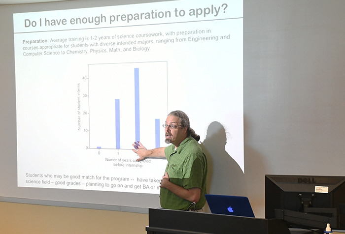 Rice University faculty member Joff Silberg delivers a keynote speech explaining the 10-week summer programs open to community college students interested in interdisciplinary science research.