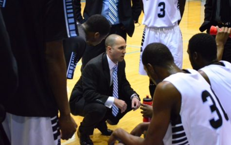 Head Coach Scott Gernander rallies his players during a previous season. The Ravens will play their last home game on Feb. 28 in Anders Gymnasium on the Central Campus.