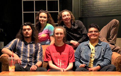 (Back row, from left) Stage Manager Caylin Salinas poses with student directors Corey Nance, (front row, from left) Marcus Delzell, Katy Sammarco, and Gerardo Galarza.