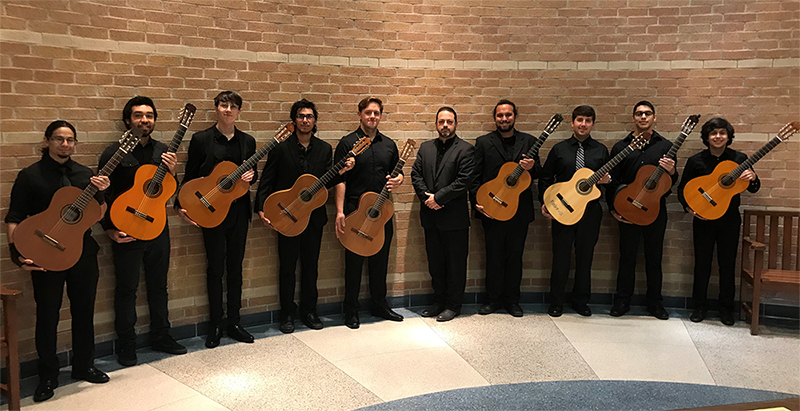(From left) Michael Esparza, Octaviano Garcia, Ethan Sizelove, Josue Mancias, John Piccola, Professor Jeremy Garcia, Joshua Hatcher, Bryan Wondra, Alejandro Herrera, and Carlos Campos Jr. will present a range of compositions, many flowing with Spanish influence, during a concert on April 24.