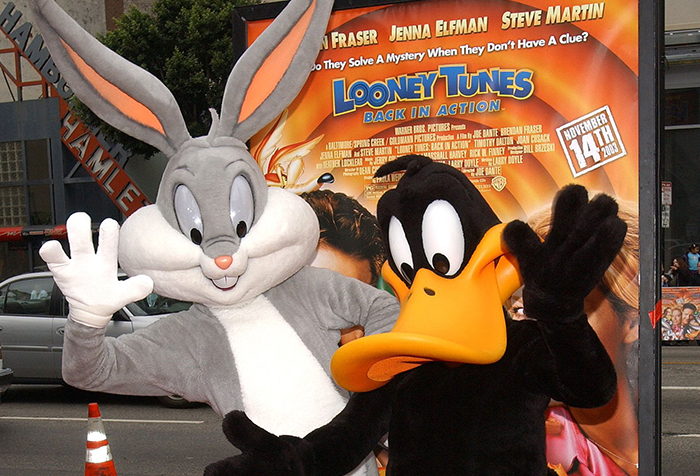 Bugs Bunny (left), shown here with Daffy Duck attending the 'Looney Tunes: Back In Action' premiere in 2003, is one of the many iconic characters featured in the exhibition showcasing the career of Chuck Jones.