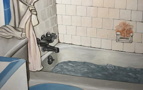 'El Baño pt.2' is part of the showcase at Galeria del Norte featuring the work of Naomi Lemus.