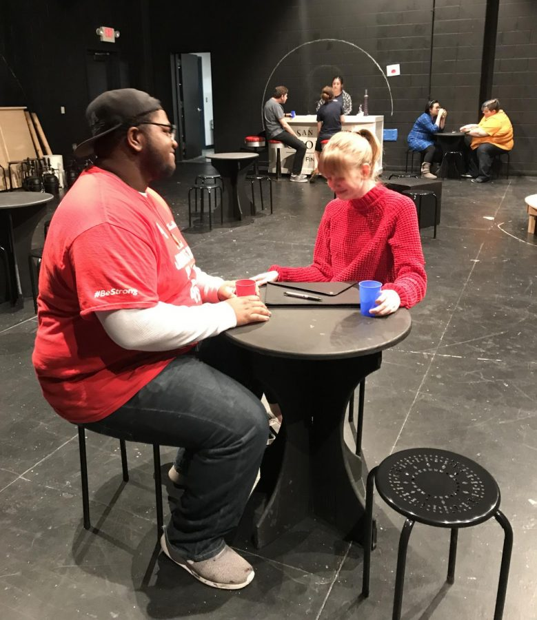 Tyundre Caple (left) and Maggie Habermas rehearse a scene from 'The Anaconda Lounge.'