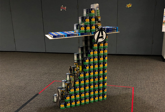 Keeping with this year's superhero theme, the OCT South team built Stark Tower as their submission in the canned food competition on the South Campus.
