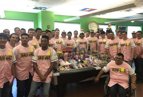 San Jacinto College baseball players, pictured here at Shriners Hospitals for Children in 2017, will continue the team's Christmastime tradition on Dec. 6 with a visit to the burn care unit.